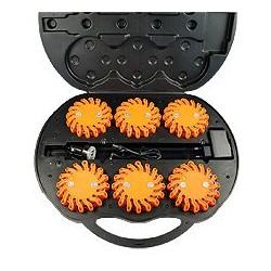 Set-Valise avec 6 LED feu d'avertissements orange