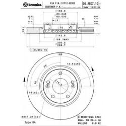Disque de frein vernis BREMBO(09.A807.10)